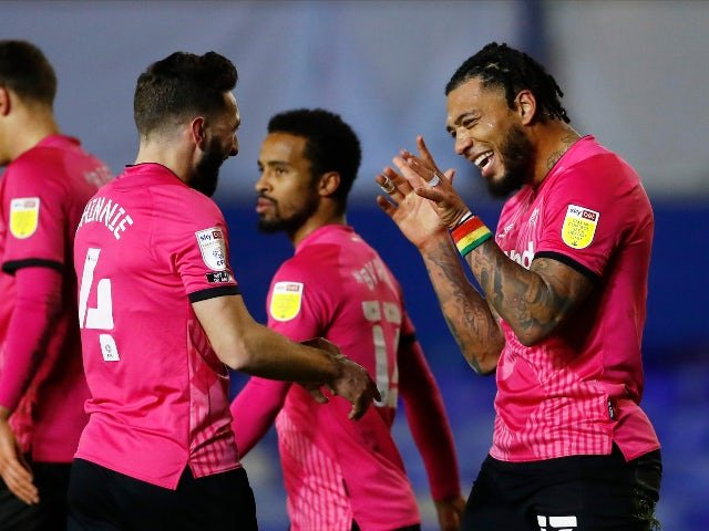 Colin Kazim-Richards celebrates Derby County's goal against Birmingham City in the league on December 29, 2020