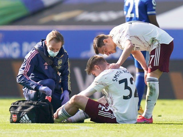 Arsenal's Emile Smith Rowe fell injured against Leicester City in the Premier League on February 28, 2021