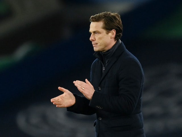 Fulham coach Scott Parker celebrates after the February 14, 2021 game