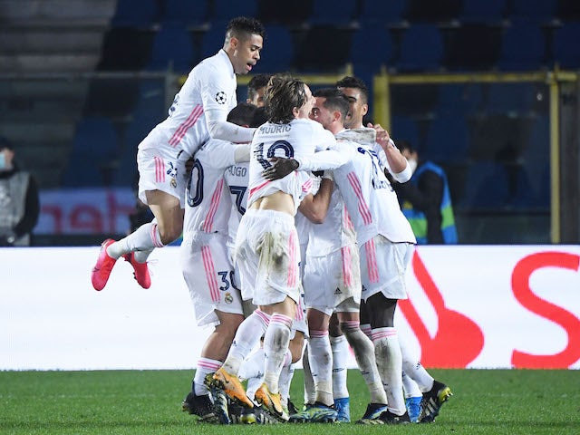 Real Madrid's Ferland Mendy celebrates his goal against Atalanta BC in the Champions League on February 24, 2021