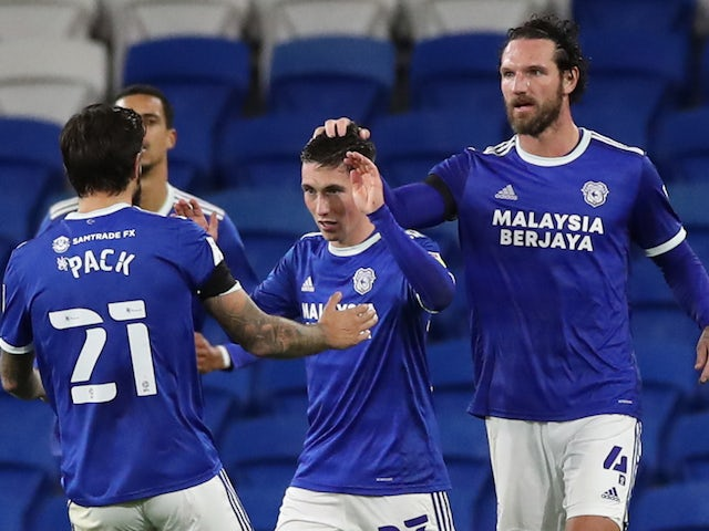 Cardiff City's Harry Wilson celebrates his goal against Bournemouth in the league on October 21, 2020