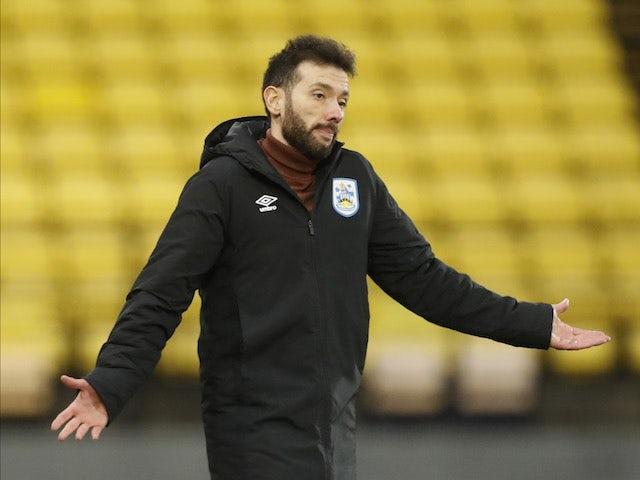 Huddersfield city manager Carlos Corberan reacts on January 16, 2021