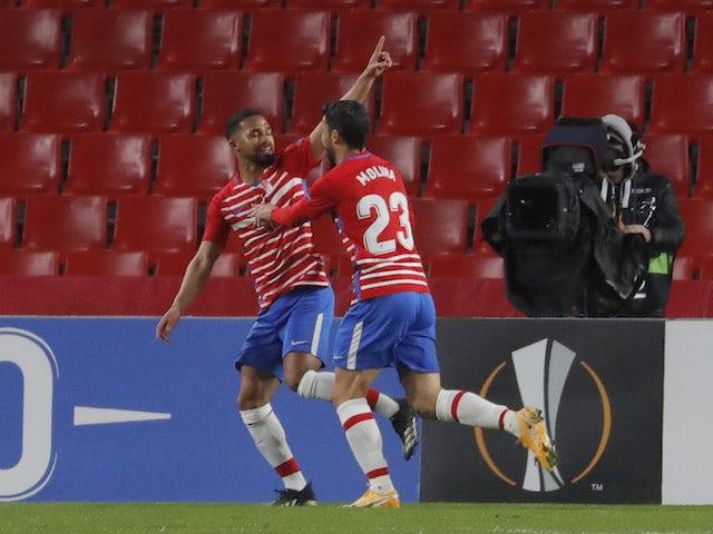 Kenedy de Granada celebrates his second goal with Jorge Molina on February 18, 2021