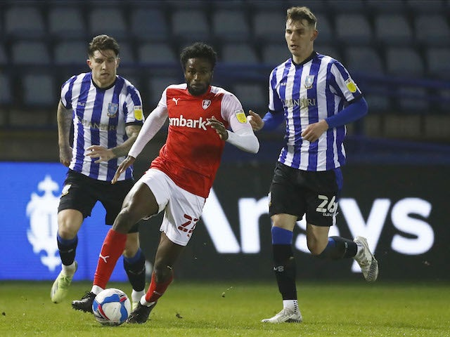 Matthew Olosunde of Rotherham United in action with Liam Shaw of Sheffield Wednesday in the championship on March 3, 2021