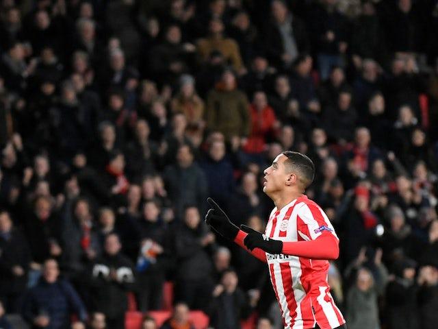 PSV Eindhoven midfielder Mohamed Ihattaren celebrates December 2019