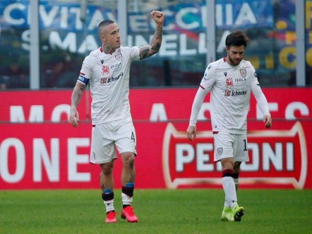 Radja Nainggolan celebrates after scoring for Cagliari against Inter Milan in January 2020