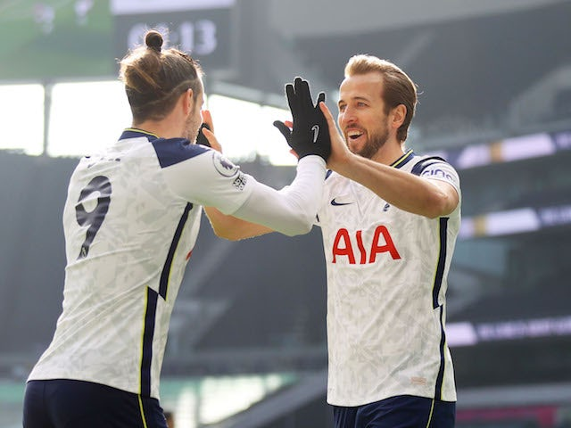 Harry Kane and Gareth Bale of Tottenham Hotspur celebrate a goal against Burnley in the Premier League on February 28, 2021