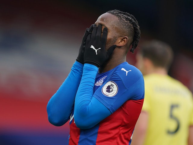 Crystal Palace's Michy Batshuayi reacts after a missed chance on February 13, 2021