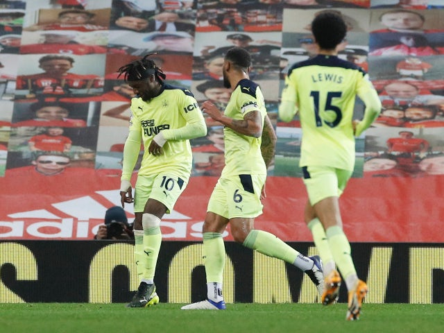 Newcastle United's Allan Saint-Maximin celebrates his first goal against Manchester United on February 21, 2021