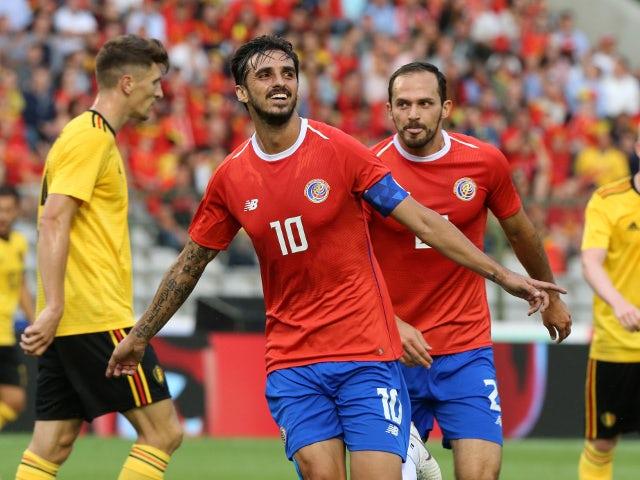 Bryan Ruiz of Costa Rica celebrates his first goal in the friendly against Belgium on June 11, 2018