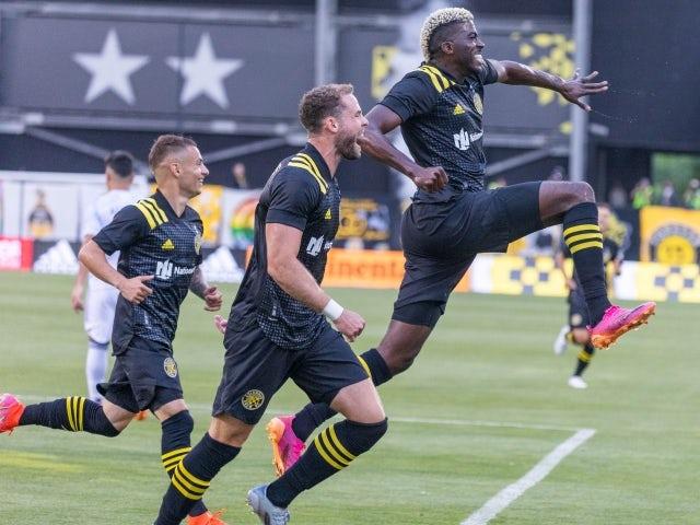 Columbus Crew forward Gyasi Zerdes celebrates his goal with his teammates on June 20, 2021