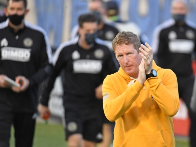 Philadelphia Union head coach Jim Curtin enters the field prior to the game against the New England Revolution on May 12, 2021.