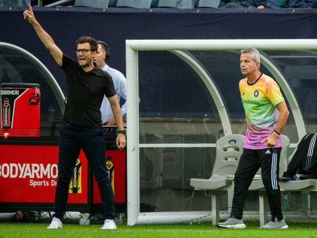 Chicago Fire head coach Raphael Wicky and assistant coach Frank Klopas pictured June 27, 2021