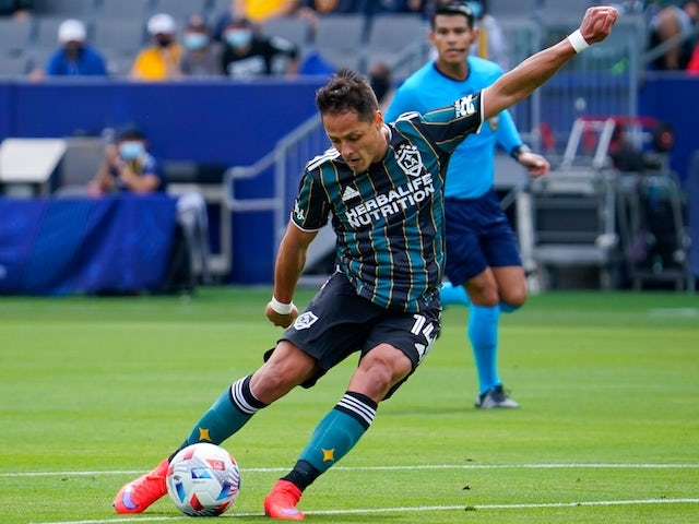 Los Angeles Galaxy forward Javier Hernandez (14) shoots during the first half against the New York Red Bulls at Dignity Health Sports Park on April 25, 2021