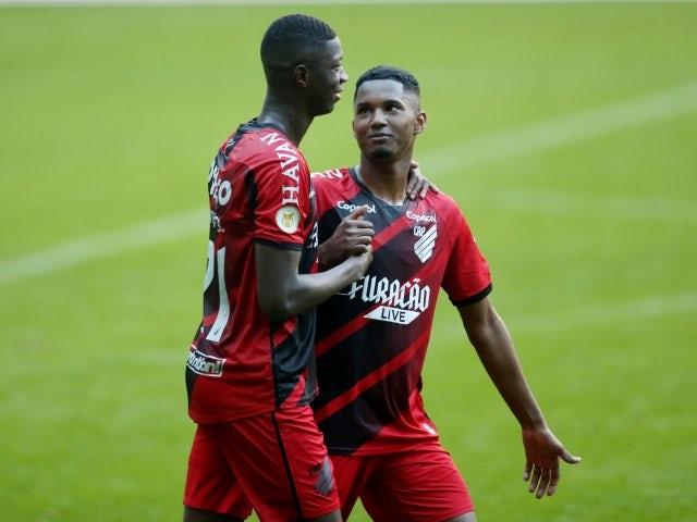 Atlético Paranaense's Matheus Babi celebrates his first goal on June 13, 2021