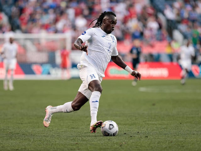 Honduras forward Alberth Elis (7) controls the ball in the second half against the United States during the semifinals of the 2021 CONCACAF Nations League Soccer Series at Empower Field at Mile High on June 4, 2021