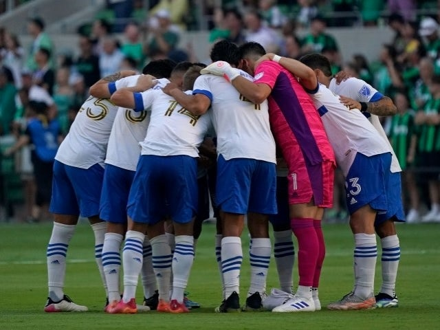 The San Jose Earthquakes team before the game on June 23, 2021