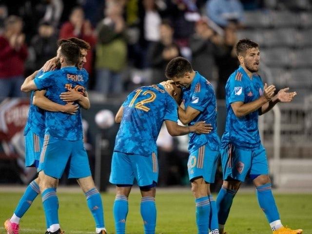 Colorado Rapids forward Michael Barrios celebrates his goal with teammates on June 24, 2021