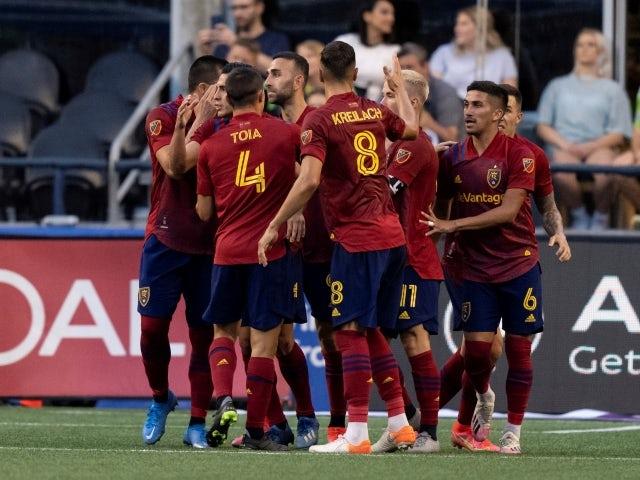 Real Salt Lake celebrates a penalty goal on June 24, 2021