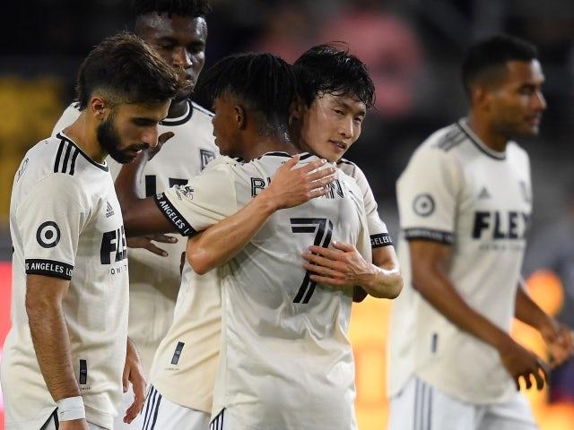 Los Angeles FC defender Kim Moon-Hwan celebrates a goal on June 24, 2021