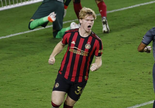 Atlanta United midfielder Jackson Conway (36) celebrates after scoring a goal against Club America in the second half during the 2020 SCCL quarterfinal at Exploria Stadium in December 2020