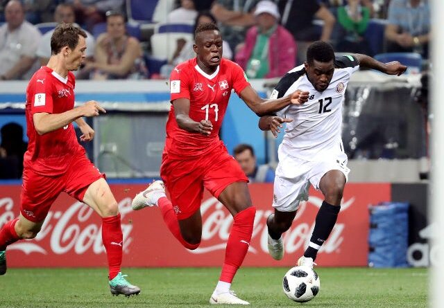 Joel Campbell from Costa Rica in action with Denis Zakaria from Switzerland on June 27, 2018