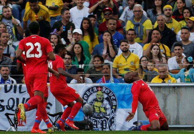 Adolfo Machado of Panama celebrates his team's tying goal against Brazil on March 23, 2019