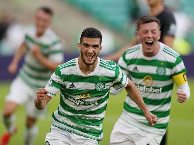 Celtics Liel Abada celebrates a goal in the Champions League against Midtjylland on July 20, 2021