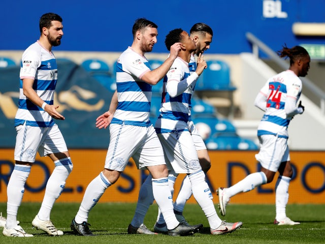 Queens Park Rangers' Chris Willock celebrates his first goal in the championship against Coventry City on April 2, 2021