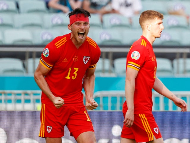Kieffer Moore celebrates his goal for Wales against Switzerland at Euro 2020 on June 12, 2021