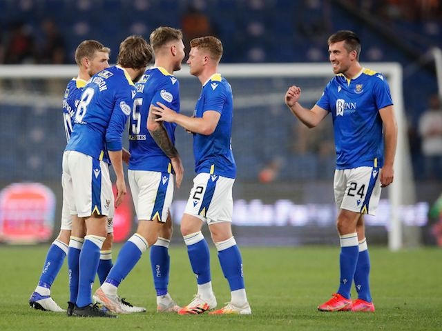 St. Johnstone's Callum Booth reacts with teammates after the game on August 5, 2021