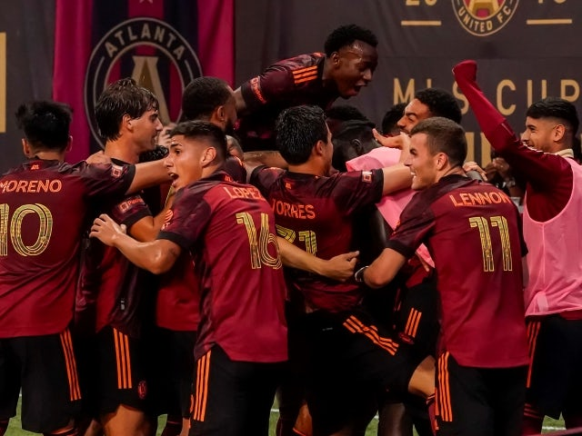 Atlanta United players react after Philadelphia Union scores an own goal on June 20, 2021