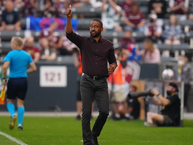 Colorado Rapids head coach Robin Fraser calls out in the first half against Sporting Kansas City at Dick's Sporting Goods Park on Jan.