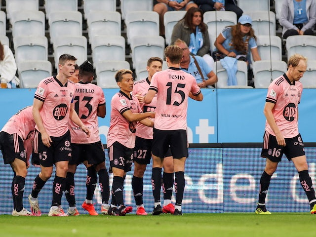 HJK Helsinki's Roope Riski will celebrate his first goal with his teammates on July 21, 2021
