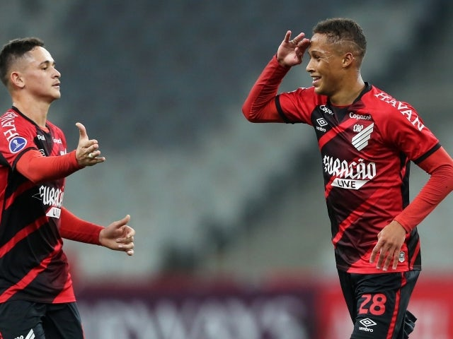 Athletico Paranaense's Vitinho will celebrate his third goal on May 28, 2021
