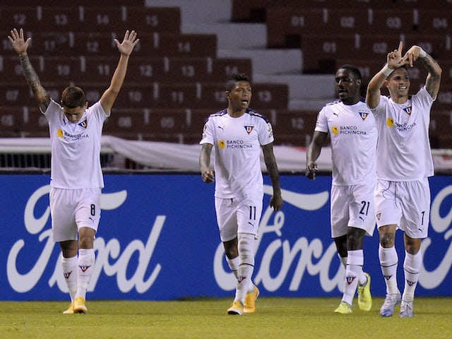 Luis Amarilla from LDU Quito celebrates his second goal on May 4th, 2021