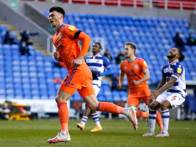 Cardiff City's Kieffer Moore celebrates his first goal in the championship against Reading on April 16, 2021