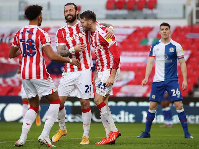 Stoke City's Nick Powell celebrates his first goal against Blackburn Rovers on December 19, 2020