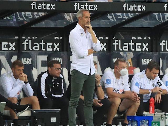 Borussia Mönchengladbach's coach Adi Hutter during the game on August 13, 2021