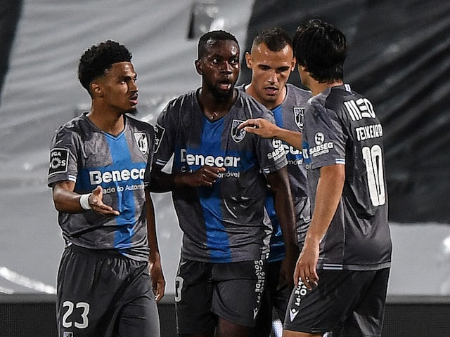 A general shot of Marcus Edwards celebrating with teammates for Vitoria de Guimaraes in June 2020