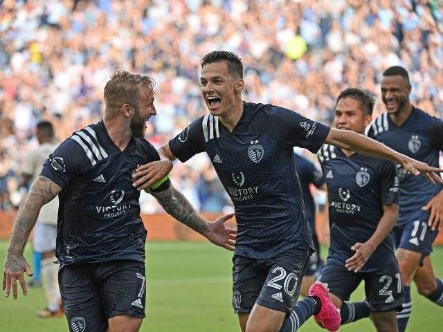 Sporting Kansas City striker Daniel Salloi celebrates after scoring on June 26, 2021