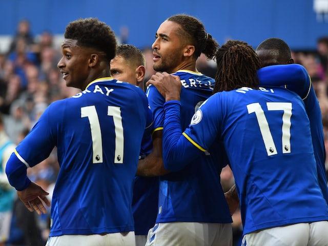 Everton's Dominic Calvert-Lewin will celebrate a Premier League goal against Southampton on August 14, 2021