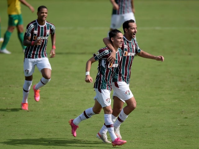 Gabriel Teixeira from Fluminense will celebrate his first goal with Nene on June 6, 2021