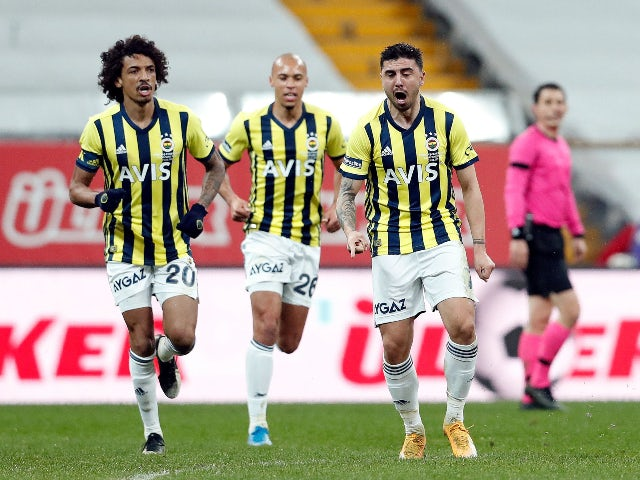 Fenerbahce's Ozan Tufan will celebrate his first Super Lig goal against Besiktas in March 2021