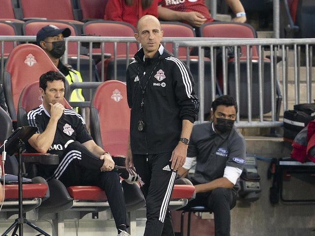 Toronto FC interim head coach Javier Perez will watch the first half against New York City FC at BMO Field on August 7, 2021