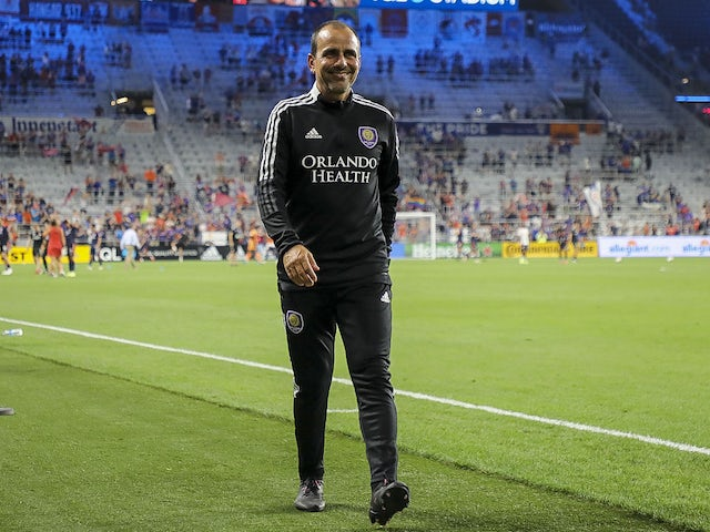 Orlando City SC head coach Oscar Pareja leaves the field at the end of the game against FC Cincinnati at TQL Stadium on August 7, 2021