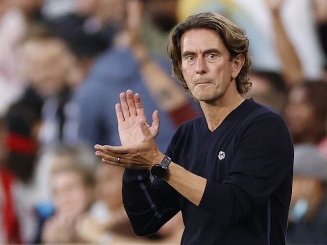 Brentford manager Thomas Frank reacts on August 24, 2021