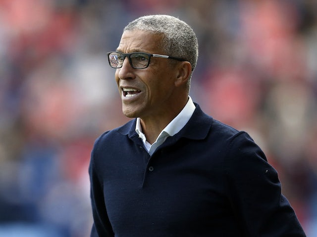 Nottingham Forest manager Chris Hughton gives instructions to his players on August 8, 2021
