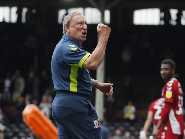 Middlesbrough manager Neil Warnock pays tribute to the fans after the game on August 8, 2021