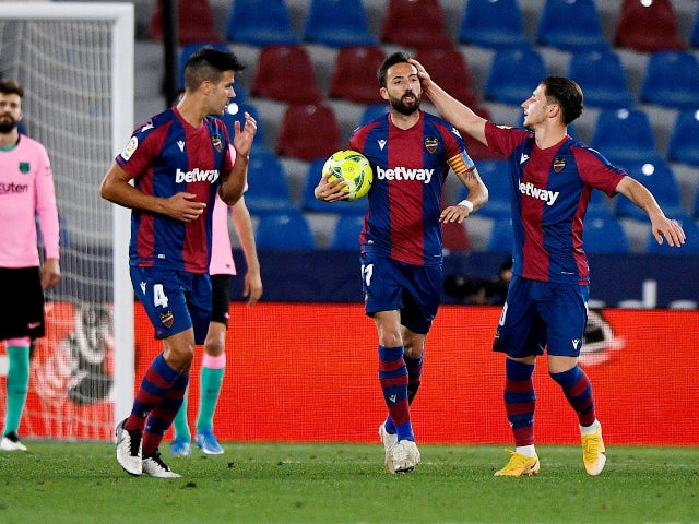 Levante's Jose Luis Morales celebrates his first goal against Barcelona in La Liga on May 11, 2021